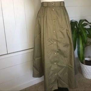 True VINTAGE! Button Down Army Green Long Skirt